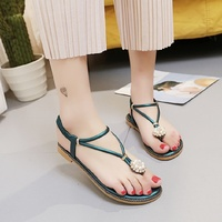 2018 summer new sandals female summer Bohemia sandals flat feet flat with Rome student shoes