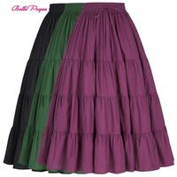 BP Women Casual Hem Long Skirt Women's Summer Sweet Solid Elastic Waist Maxi Skirts Holiday Out Gothic Punk Skirt Retro Vintage