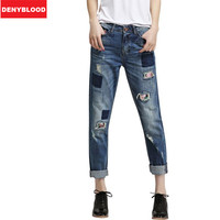 2015 SS Boyfriend Jeans For Women Floral Hole Ripped Patchwork Jeans Vintage Jeans Women N2082