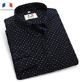Langmeng 2016 New 100% cotton Spring Autumn Fashion Brand Slim Fit Long Sleeve Dress Shirt Men Social dot Casual Men Shirt