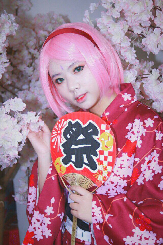 font b NARUTO b font Haruno Sakura kimono font b cosplay b font Costumes