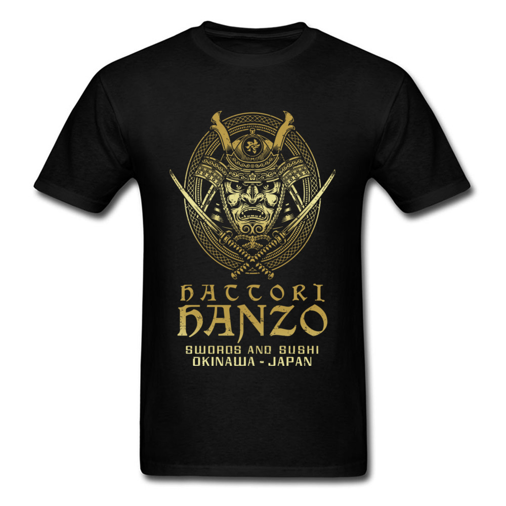 Hattori Hanzo 2018 Men Cool Samurai T-shirt Swords And Sushi Cartoon Design Punk T Shirt Okinawa Japan Chic Tops Tees