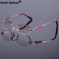 Rose Gold Women Rimless Frame Women Titanium Alloy Optical Frame Diamond Trimming Cut Rimless Glasses With Gradient Tint Lenses