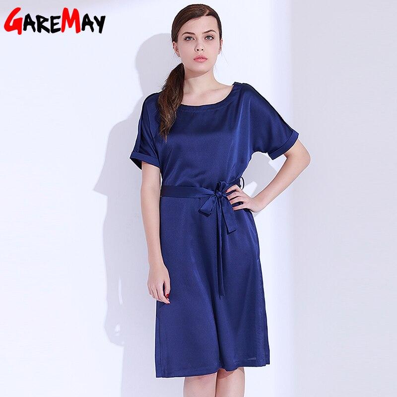 Vestido de satén para mujer Elegante talla grande Vestido azul - Ropa de mujer - foto 3