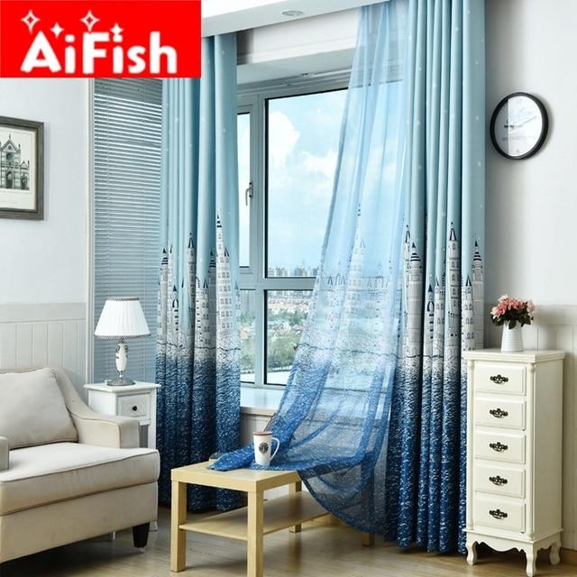 moderne kurze blind vorhang fr wohnzimmer schlafzimmer blau und kaffee meer castle muster cartoon kinderzimmer voile - Vorhang Schlafzimmer Blau