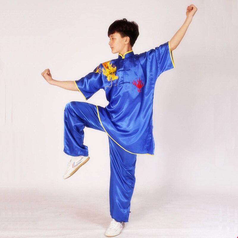 USHINE été noir rouge bleu chinois Multi couleur broderie bras Dragon à manches courtes KungFu Arts martiaux Costume TaiChi Costume