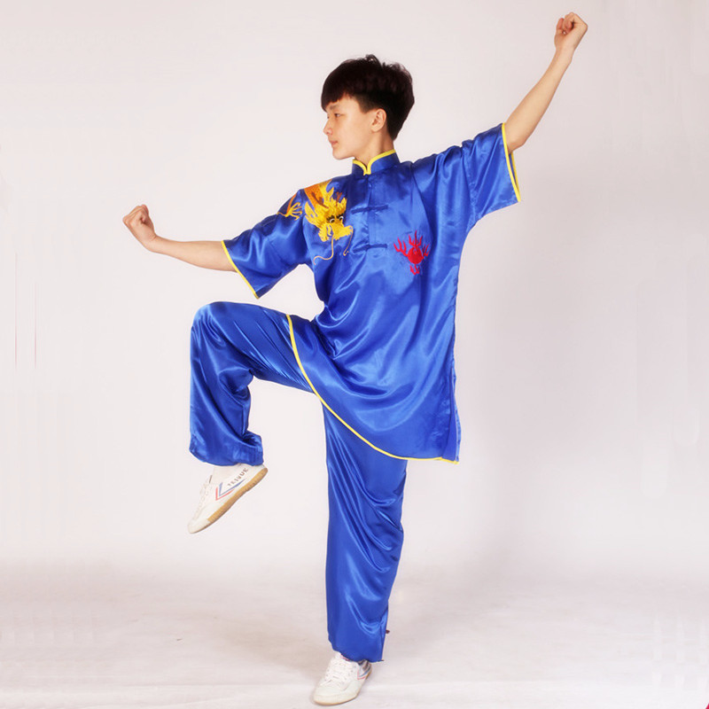 USHINE Summer Black Red Blue Chinese Multi Color Embroidery Arm Dragon Short Sleeve KungFu Martial Arts Costume TaiChi Suit