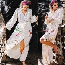 Broderie Long Beach Dress Couvrir Saida De Praia Maillot Bain Bikini Tuniques Pour Plage