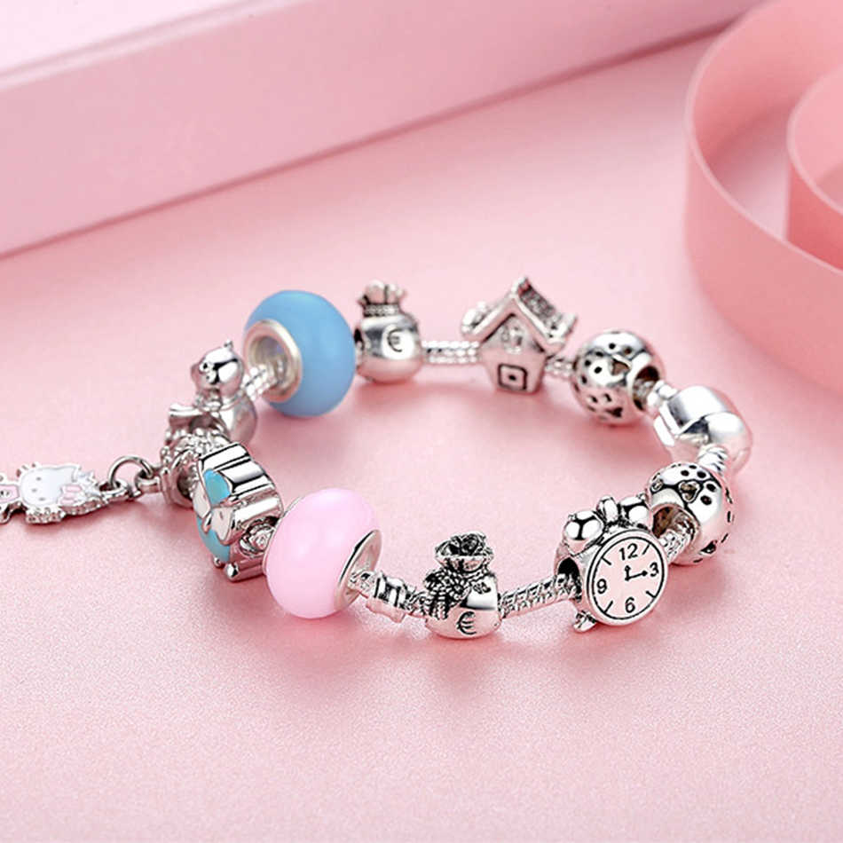a62585f30 ... FOREWE 925 Silver Charm Bracelets Cute Cat Hello Kitty Pink Enamel  Murano Glass Beads Bracelet for ...