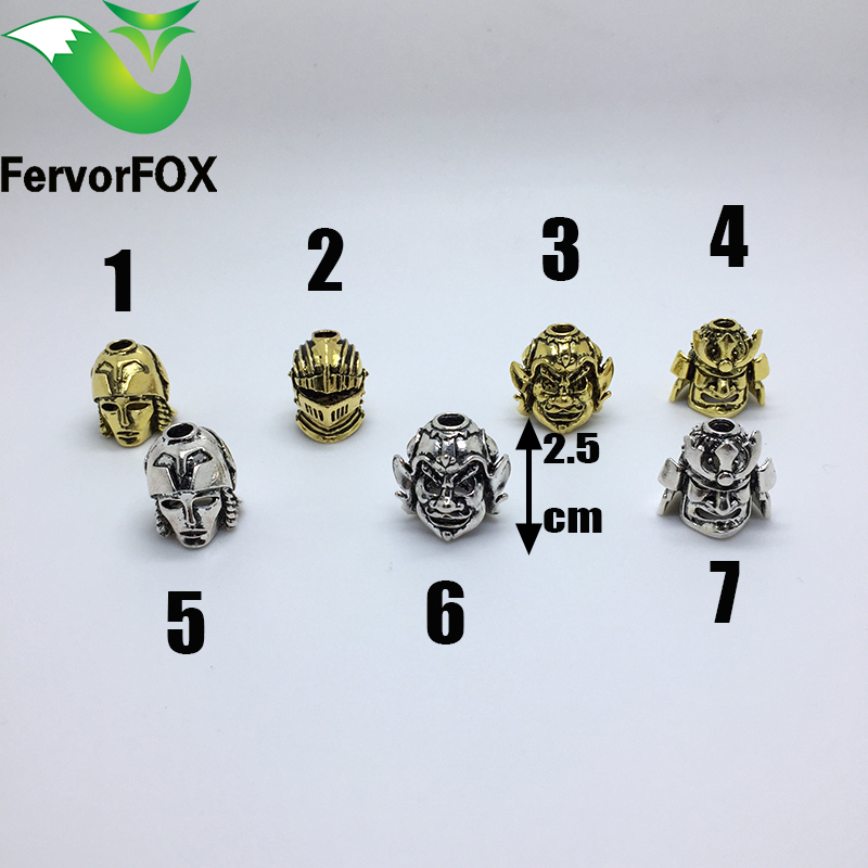 Paracord Beads Metal Charms Skull For Paracord Bracelet Accessories Survival, DIY Pendant Buckle untuk Paracord Knife Lanyards