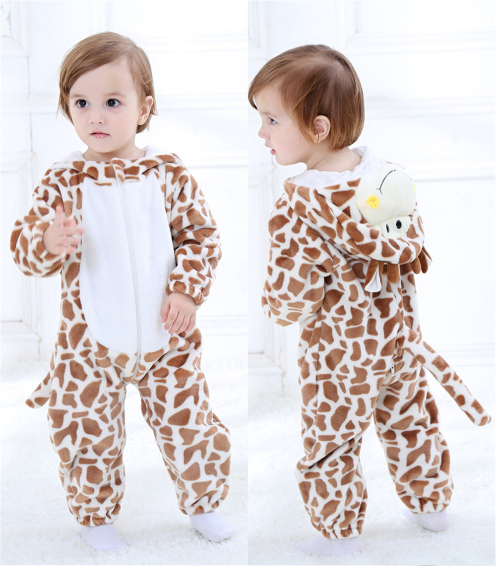 Objective Deer Giraffe Kigurumi Baby Kid Children Onesie Pajama Cartoon Animal Cosplay Costume Winter Autumn Warm Soft Fancy Suit Home