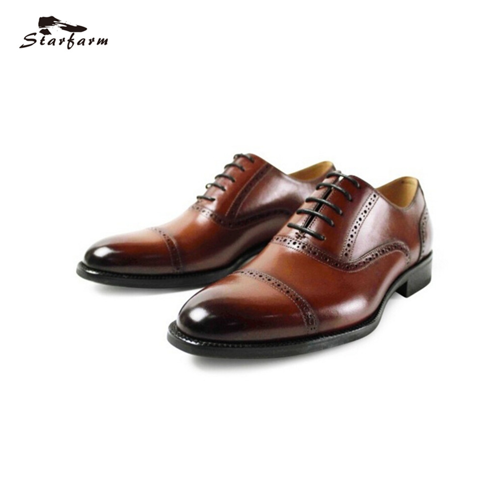 цена STARFARM Luxury Brand 2017 Fashion Oxford Shoes Men Business Formal Dress Shoes Handmade High Quality Genuine Leather Men Shoes онлайн в 2017 году