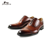 Starfarm Элитный бренд Мода 2017 г. Оксфорд Обувь Для мужчин Бизнес Представительская обувь ручной работы Высокое качество Мужская обувь из натуральной кожи