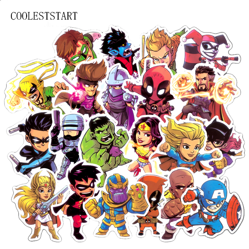 50 Pcs Super Hero Stickers Marvel Style For Laptop Luggage Motorcycle Car Styling Fashion Cool PVC Waterproof Sticker