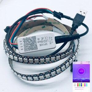 Image 1 - Usb 5v rgb led luz de tira 2812b 144led/m sp110e bluetooth controlador tv backlight sonho cor flash listra decoração