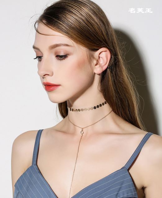 Womens Delicate Gold Silver Plated Chain Discs Choker Lariat Pendant Tasseled Double Strand Collar Necklace Jewerly