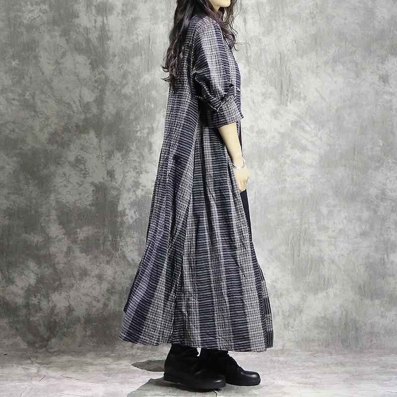 Johnature Women ลายผ้าฝ้ายผ้าลินินฤดูใบไม้ร่วง Trench เสื้อ Vintage 2019 ใหม่สีเทา Casual หลวม Patchwork เสื้อผ้าผู้หญิง Trench-ใน โค้ทยาว จาก เสื้อผ้าสตรี บน   3