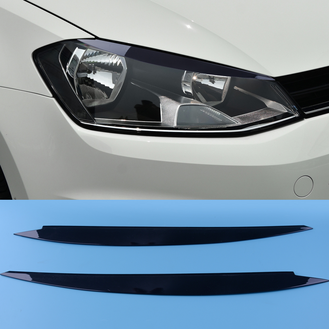 Set of 2PCS Black Headlights Eyebrow Eyelids Trim Fit For MK7