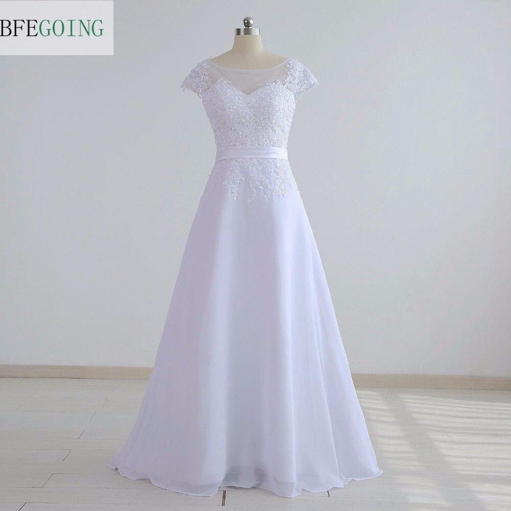 White Chiffon Lace Appliques A-line Wedding Dress Floor-Length Cap Sleeves  Real/Original  Actual  Photos  Custom Made