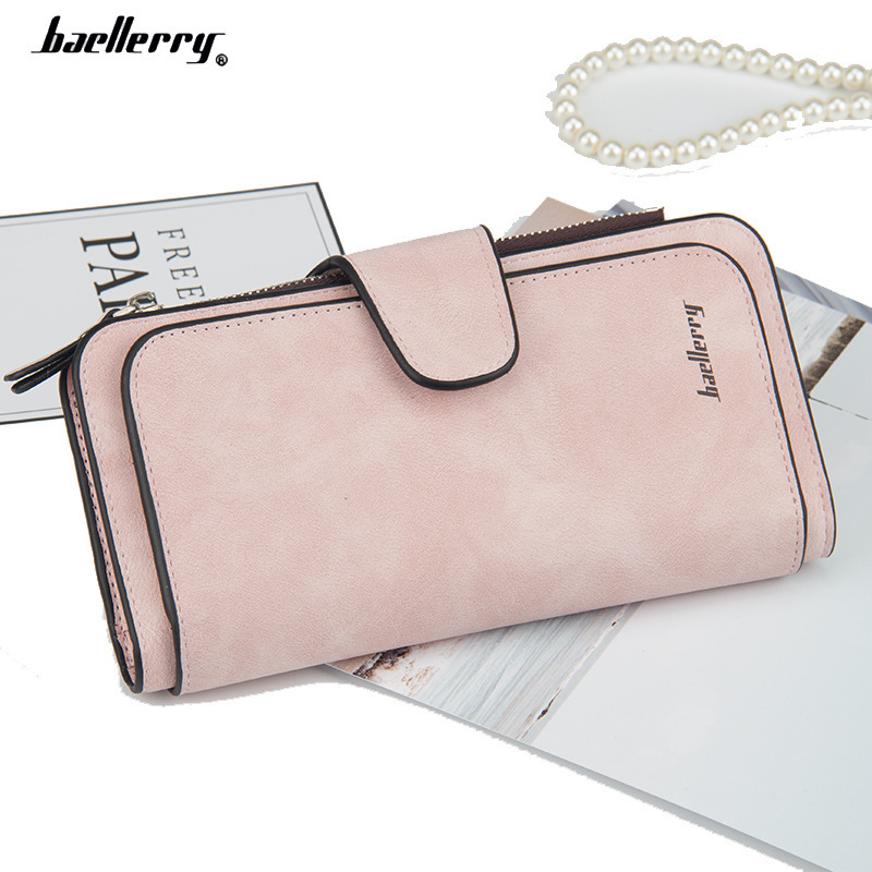 2020 New Fashion Women Wallets Drawstring Nubuck Leather Zipper Wallet Women's Long Design Purse nubuck leather hasp Clutch