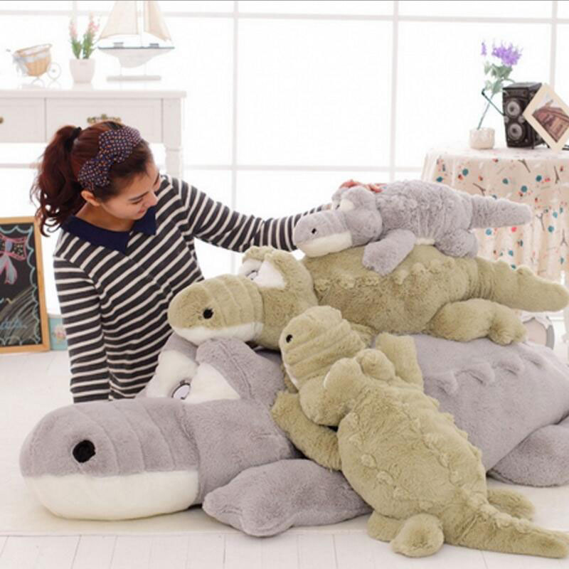 ФОТО 140CM Plush Big Eyes Cock Crow Crocodile Sleeping Plush Toy Large Doll Hugging Stuffed Cute Plush Toy Kids Toy For Birthday Gift