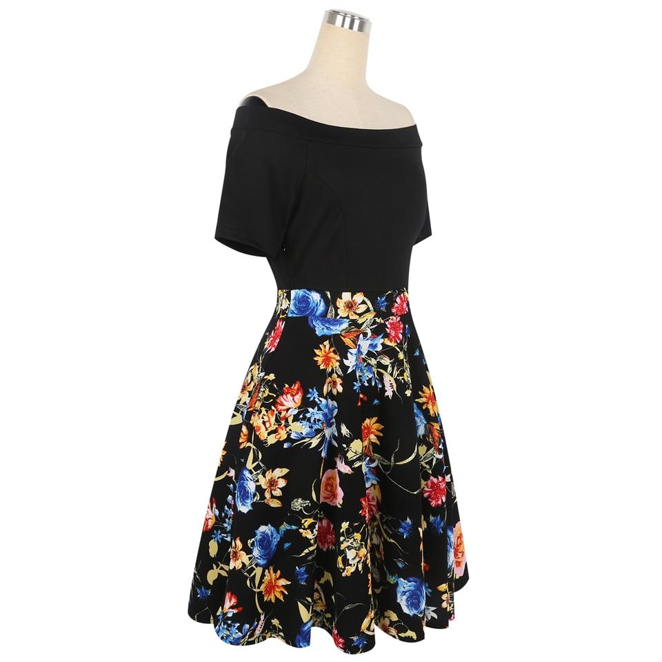 Oxiuly Yaz Elbise 2018 Elbise Kadın Kısa Kollu Renkli Çizgili - Bayan Giyimi - Fotoğraf 3