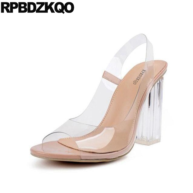 Sexy womens transparent wedge heel peep toe slingbacks sandals ladies shoes