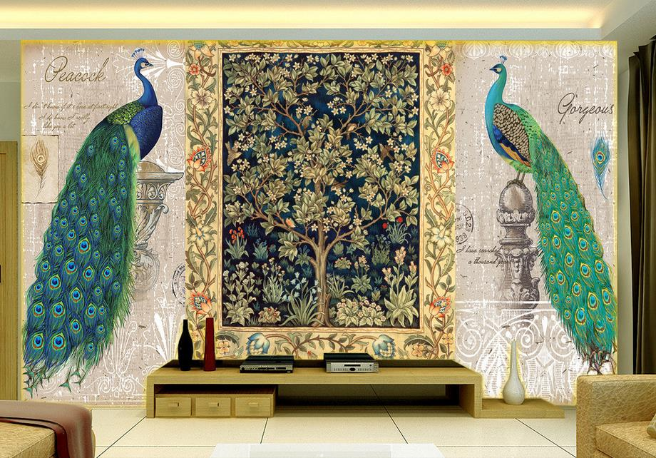 3d wallpaper custom photo wallpaper room murals tree of life painted peacock painting 3d wall mural wallpaper for living room купить в Москве 2019