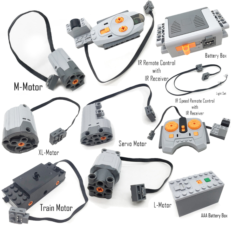 Technische Power Funktionen Servo Motor Polarität Schalter Licht Set IR Geschwindigkeit Fernbedienung Empfänger Batterie Box legoingly technik