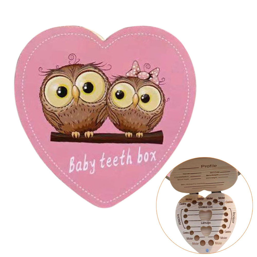 Wooden Heart-shaped Milk Teeth Box Children's Souvenir Save Baby Tooth Box Kids Tooth Mini Storage Boxes Dropshiping