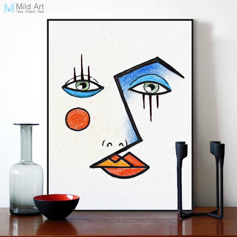 minimalist modern abstract face picasso poster print wall. Black Bedroom Furniture Sets. Home Design Ideas