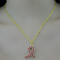 Free Shipping! Breast Cancer Awareness Pink Ribbon Rhinestone Pendant Necklace for World AIDS