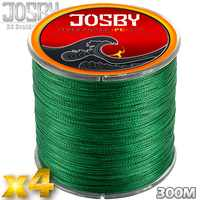 JOSBY 4 Strands 300M Fishery Braided Fishing Line Strong Multifilament 4x Braided Wire 6 8 10 20 30 40 80 100 LB Carp Fishing