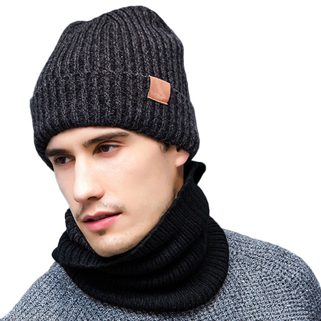 86860d3034b 3 PCS Warm Winter Gloves Beanies Hat And Scarf Set For Men 2017 Wool  Knitted Caps