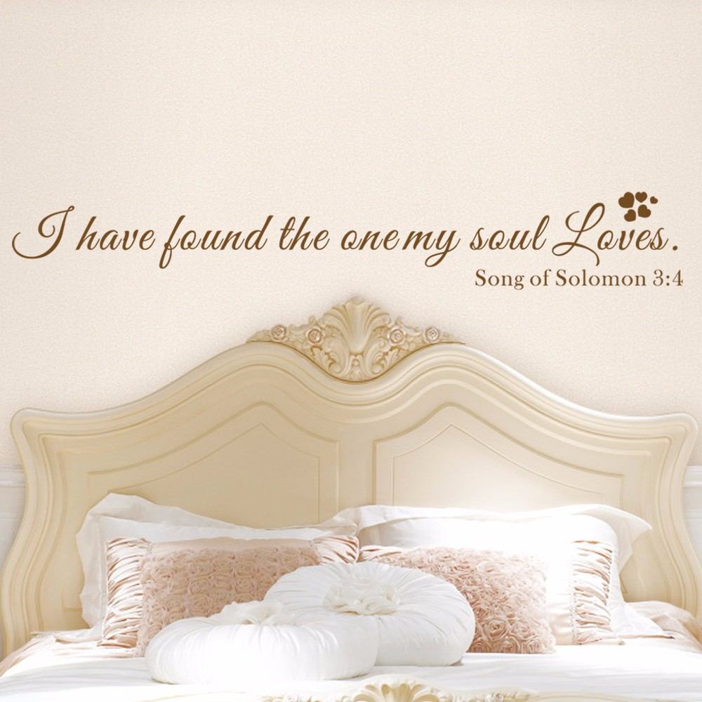 I Have Found The One My Soul Loves Vinyl Quotes Bedroom Wall Decal Song Of Solomon Saying 22 86cm X 147 32cm In Stickers From Home Garden On