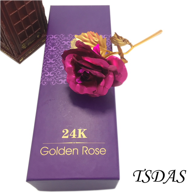 Wedding Gift 24k Gold Plated Rose With Box Golden Certificate Lovers
