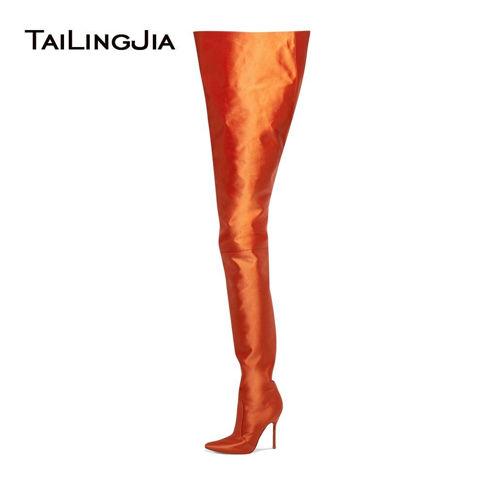 Femmes Bout Pointu Sur Le Genou Bottes Hautes Dames Slip Sur À Talons Hauts Orange Vif Noir Rose Violet Satin Taille Haute Bottes 2017