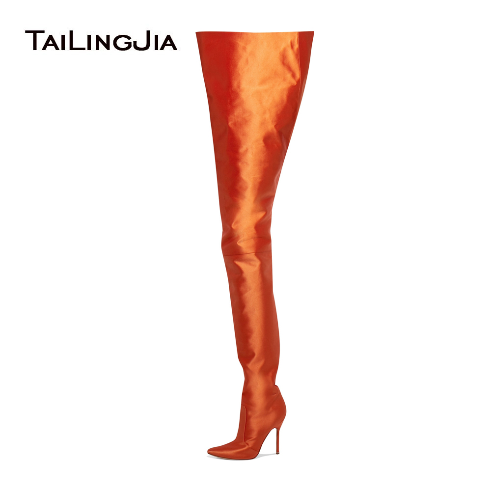 Women Pointed Toe Over The Knee High Boots Ladies Slip On High Heel Bright Orange Black Pink Purple Satin Waist High Boots 2017
