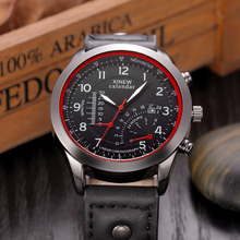 Excelente calidad xinew nuevo mens relojes de hombres reloj de cuarzo verdadero tres dial luminoso impermeable correa de cuero deportes al aire libre