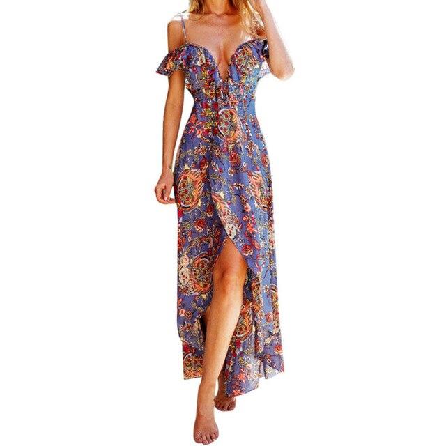 2018 maxi summer dress Women Sexy Summer Printing Boho Maxi Long Evening  Party Beach Dress Sundress 55dce8f7ca30
