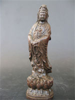 Elaborate Chinese Classical Wood Hand carved Merciful Goddess Statue