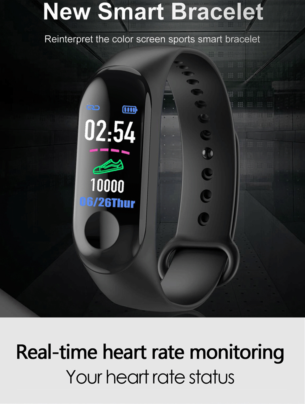 Rovtop M3 Men Smart Wristband Color Screen Smart Band IP67 Waterproof Blood Pressure Heart Rate Activity Fitness Smart Bracelet