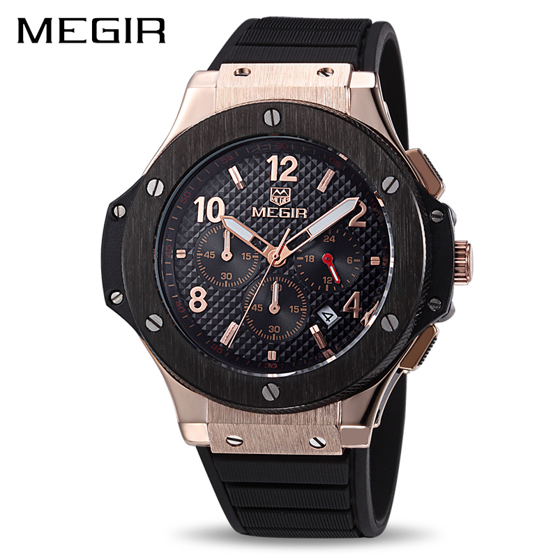 MEGIR Original Quartz Men Watch Big Dial Silicone Sport Military Watches Clock Men Chronograph Wristwatch 3002 Relogio Masculino