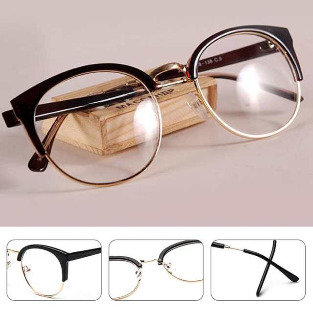 5cff8b5843 placeholder New Style Anti-Radiation Goggles Plain Glass Spectacles Fashion  Women Metal+Plastic Semi Circle