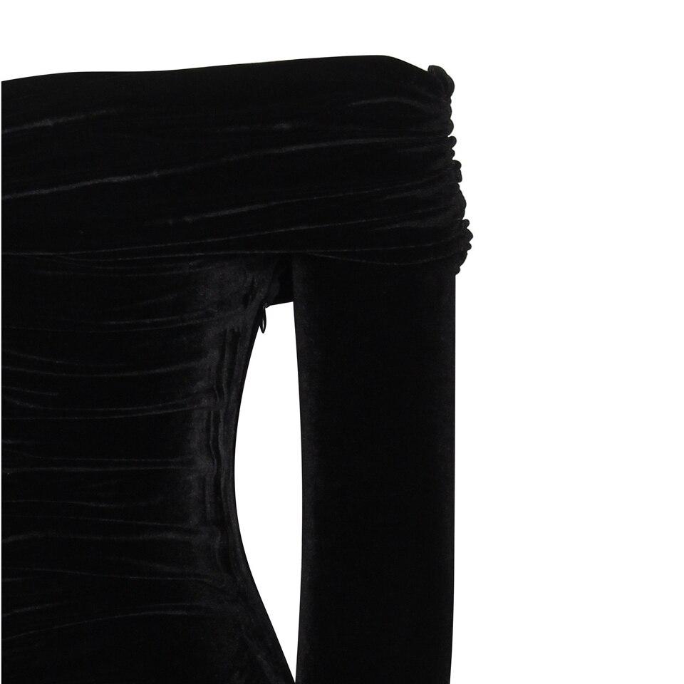 Image 5 - Karlofea New Spring Midi Dress Solid Black Elegant Casual Off Shoulder Velvet Dress Sexy Club Long Sleeve Bodycon Party Dressmidi dressvelvet dressbodycon party dress -
