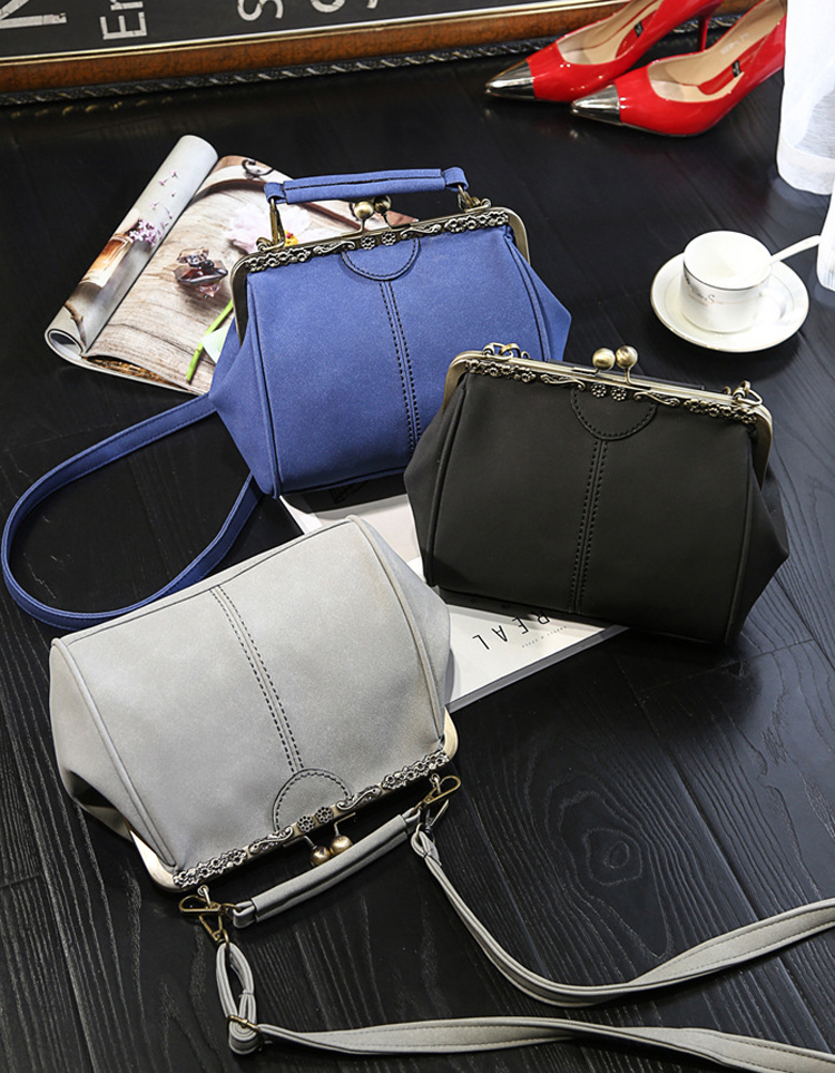 Women PU Leather Purse Retro Fashion Top Handle Handbag Kiss Lock Crossbody Shoulder Bag for Ladies (21)