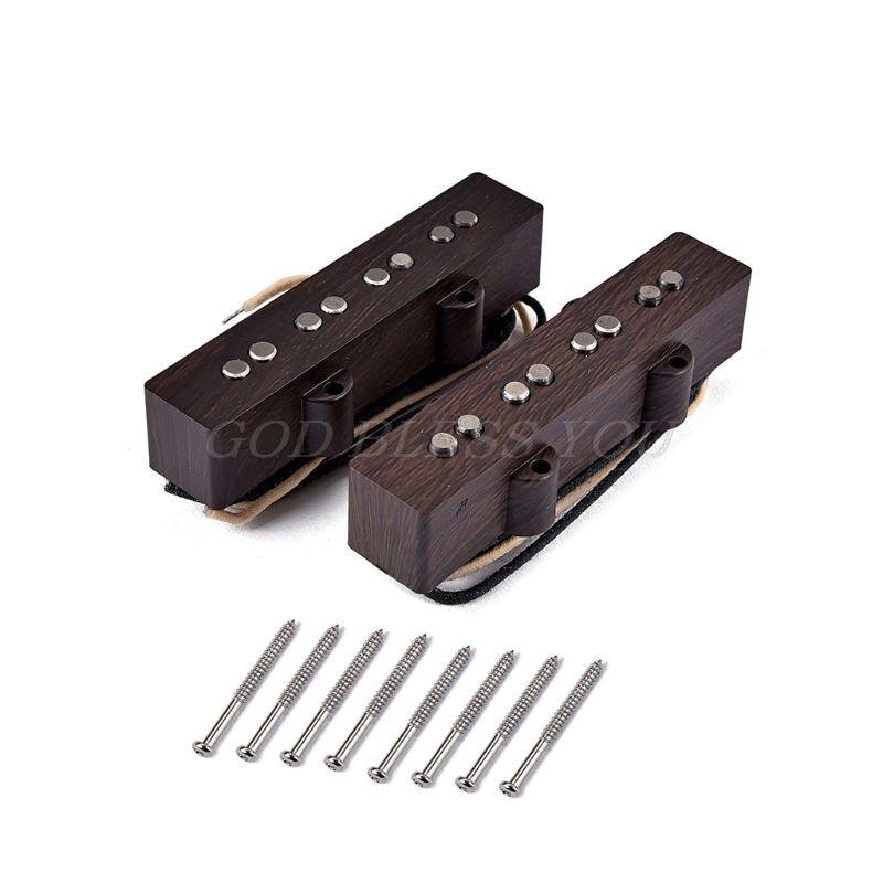 Guitar Pickup Alnico V single coil Neck And Bridge For 4 String FD JB Jazz Bass Wood Color