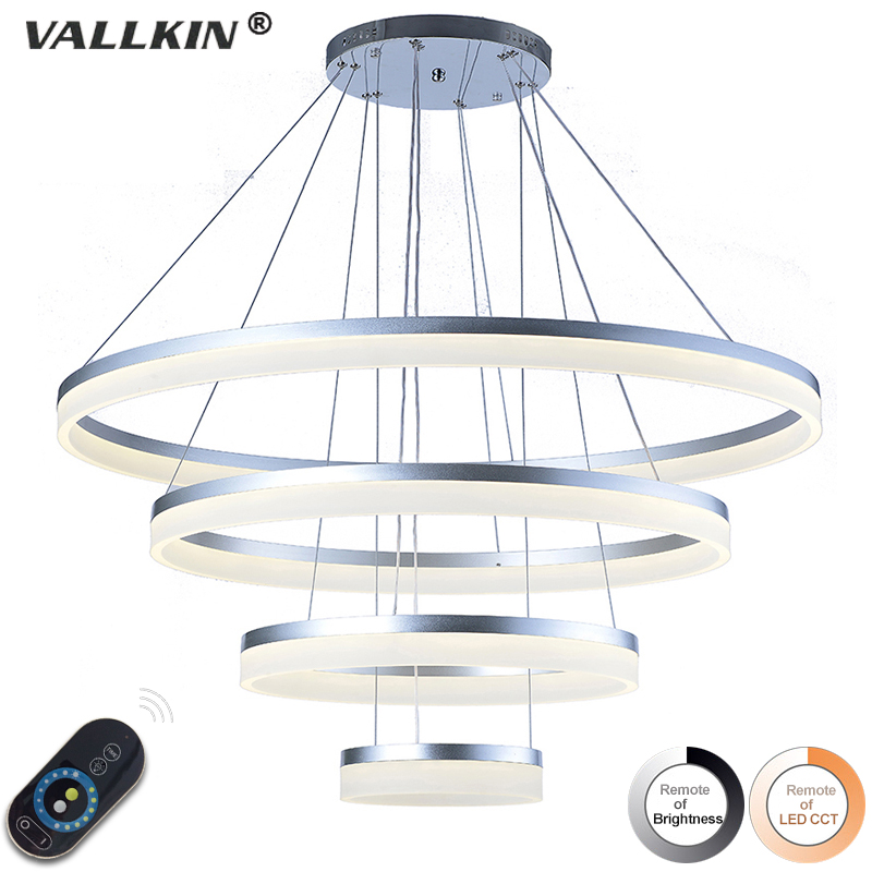 Dimmalbe Modern LED Pendant Lights For Living Room Hanging Circel Rings Acrylic Suspension Luminaire Pendant Lighting