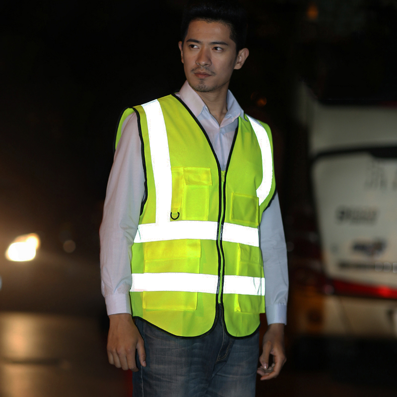 CCGK Reflective Vest High Visibility Safety Vest With Multi pockets Working Clothing For Outdoor Running Cycling Sports Workwear safety clothing chaleco reflectante 360 degrees high visibility neon belt running cycling sports outdoor clothes reflective vest