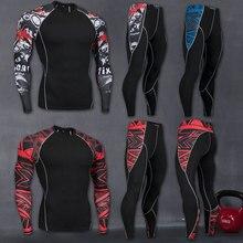 MMA dos homens Compressão Run jogging Ternos Roupas Conjunto Esportes 4xl  Longo t camisa E Calças 4d1e97edb6570